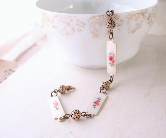Shabby bracelet with vintage enamel roses and filigree