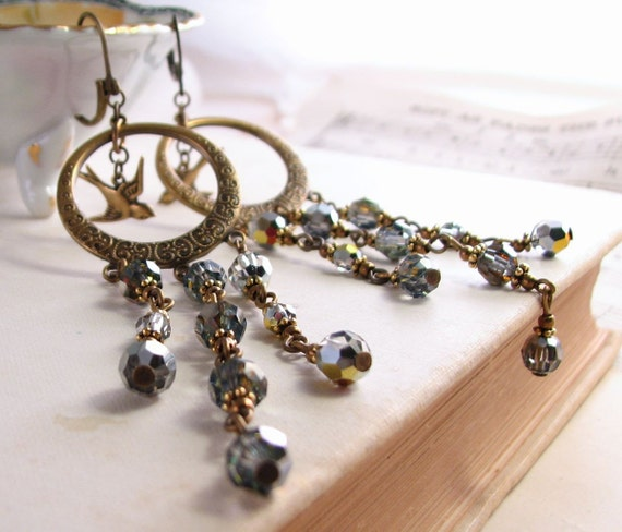 Gypsy Chandelier earrings with metallic crystals and birds