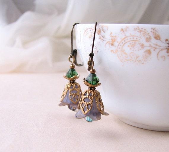 Gray Green Shabby Flower earrings crystal filigree
