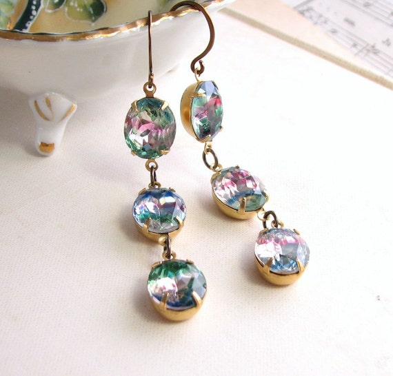 RAINBOW Earrings with vintage iris pastel  Rhinestones
