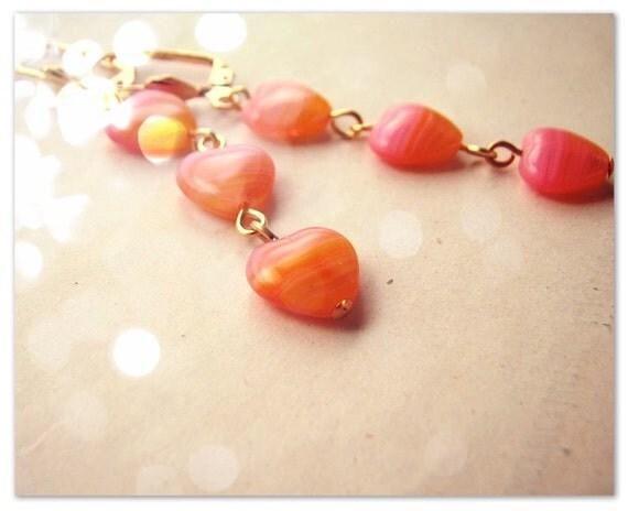 Tangerine Pink glass heart earrings