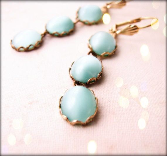Summer jewelry aqua mint moonstone glass earrings