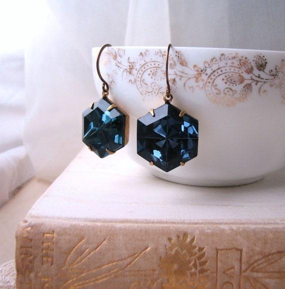 Sapphire Hex on You earrings vintage sapphire blue rhinestones