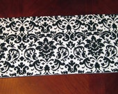 Black and white damask mini table runner or toilet tank topper decoration