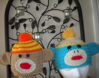 Striped and Solid Sock Monkey Beanie Pattern Crochet 2 Patterns