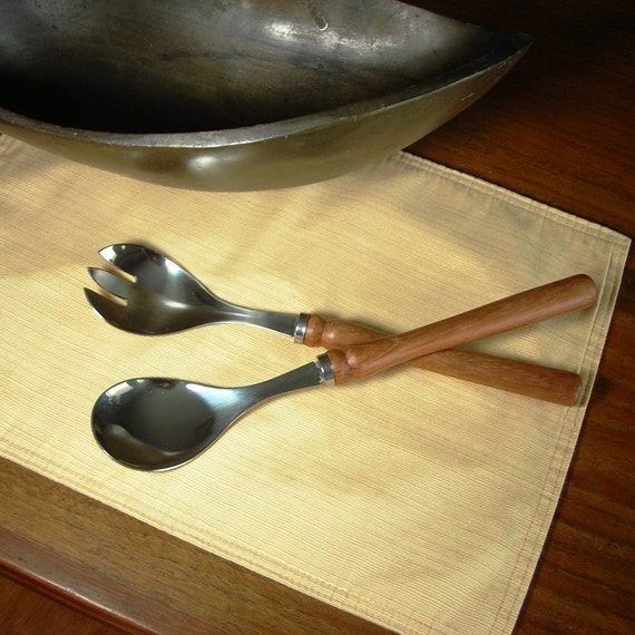 Wooden Salad Servers with Hand-Turned Satine Wood Handles