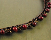 Persephone's Pomegranate Copper Woven Wire and Pearl Handmade Long Choker Necklace Jewelry