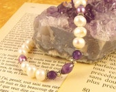Amethyst, Pearl and Silver Handmade Bracelet by Green Gemini Designs