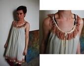 Ivory and Mocha Lace Vintage Nightie size L