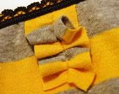 Yellow Grey Striped Ruffle Bikini Brief size M