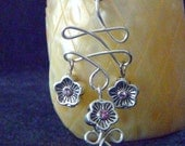 Stunning Wire Work Earrings With Swarovski Pewter Flower Drops (reserved for readingbunky only)