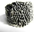 Spotted Owls Ring wide band  Sterling Silver custom to any size