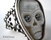 Aqua Eyes Skull Mother of Pearl Silver ring