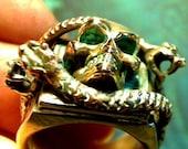3 Rattle Snakes Skull Ring 18k nugget memento mori for  biker or wicca snake worship COPPER  BRONZE GOLD SILVER