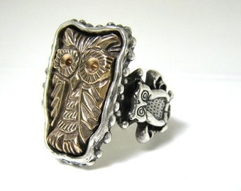 Owl Sacred Bronze Owl Ring the Flying Cat R074