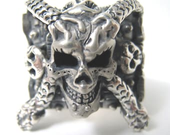 Wicked Day of the Dead Skull Ring Biker Wiccan Rocker R009