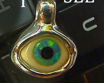 i see you Eye Pendant 3 natural materials set in sterling silver my skull hurts this was so hard to make