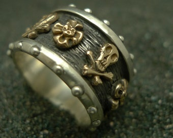 18k GOLD Pirate Skull Crossbones Flowers Finger Silver Band solid 18k GOLD flowers and skulls R045