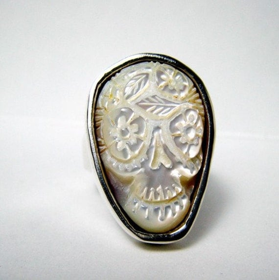 "by the Original designer thick deep carved by Ruben mother of pearl Sugar Skull Ring Day of the dead ""white Cloud"" ring"
