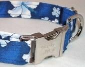 Blue Hawaiian Print Dog Collar by Swanky Pet