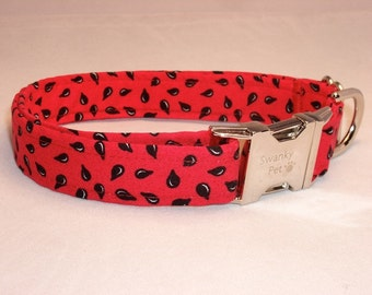 Watermelon Seeds Summer Print Dog Collar by Swanky Pet