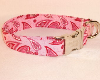 Valentine's Day - Pink Paisley Heart Valentine's Dog Collar by Swanky Pet