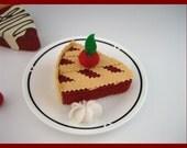 Cherry Pie - Waldorf Inspired Wool Felt Play Food -  Single Slice - 1 pieces  Ready to Ship