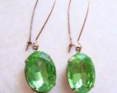Peridot Green Vintage Jewel Earrings