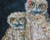 Original Art Watercolor Owl Art Artist Trading Cards Baby Owl Painting Natural Wildlife Owl Painting Small Format Art