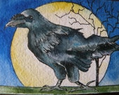ACEO Art Card Watercolor of Raven Artist Trading Card Original Art