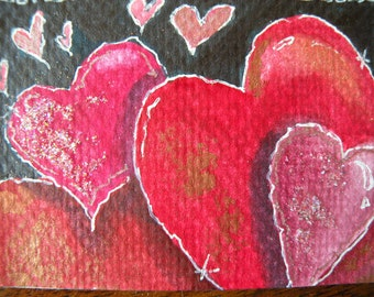 Valentines Art Card of Hearts ACEO Artist Trading Cards of Hearts Original Watercolor Original Art Heart Paiting