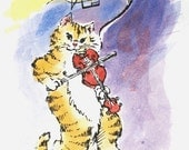 Hey, Diddle Diddle, The Cat and the Fiddle... 5x7 Limited Edition Painting 1\/25