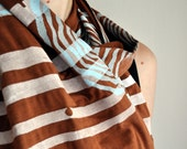 Brown Bamboo Stripes and Flowers Scarf