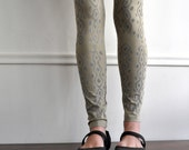 Handmade Sage Snakeskin Print Leggings