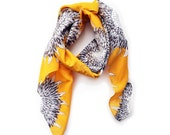 Yellow Flowers Scarf in Light Weight Cotton