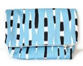 Blue Handmade Clutch With Porcupine Quills Graphic Print