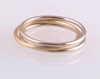 Set of 3 14k Gold Stack Rings 1.25mm, size 0-6.75