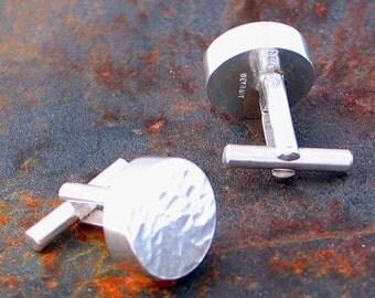 Sterling Silver  Round Hammer Textured Cufflinks