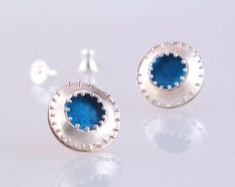 Blue Granulation Post Earrings