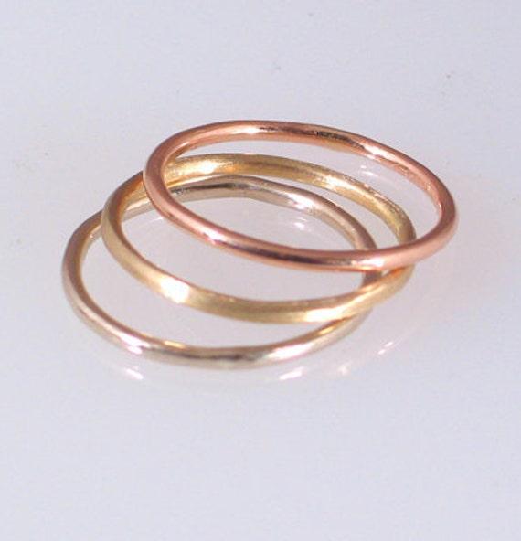 Set of 3 14k Gold Stack Rings 1.25mm, size 7 -13