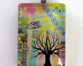 Let it Be-Art Pendant-Collage-Jewelry-Glass