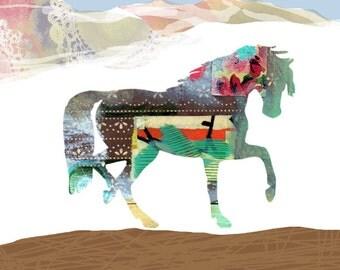 Horse Collage, Art Print