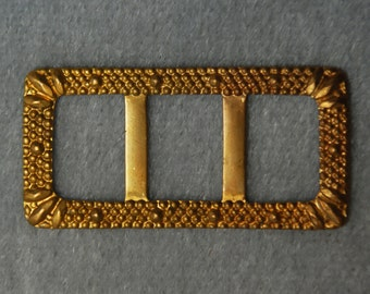 Vintage Raw Brass Rectangular Belt Buckle Jewelry Finding