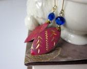 Vintage Rouge Red Leaves Etched Gold Design, Cobalt Blue Crystals, Gift for her, Gift under 30