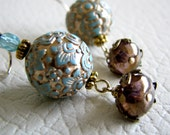 Gilded Pale Aqua Carved Bead Earrings / Rough Luxe (Last Pair)