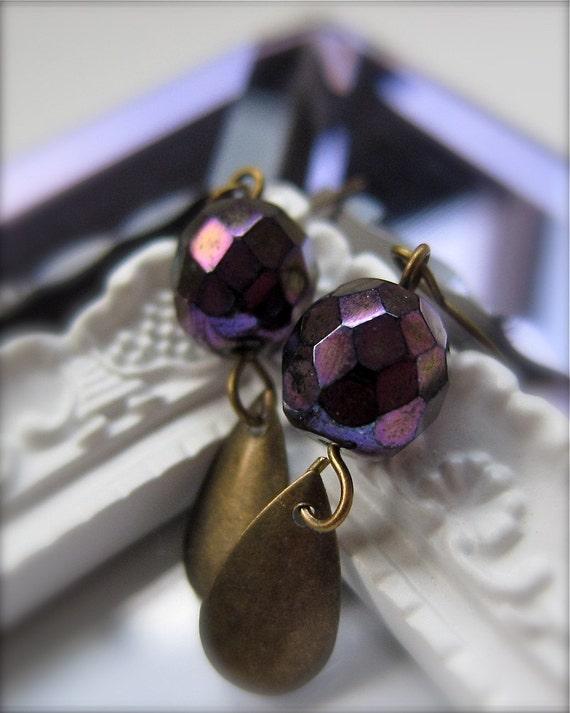 Iris Earrings - vintage metallic magenta bronze faceted glass