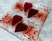Red Hearts Glass Plate