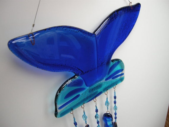 Blue Whale's Tail  Glass Wind Chime