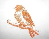 Large Flour Sack Dishtowel with Embroidered Bird