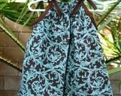Blue and Espresso Fleur De Lis Pillowcase Dress
